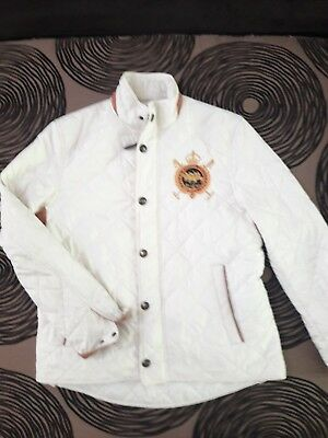 Polo Ralph Lauren SPORT White Equestrian Patched Quilted Coat Jacket MEDIUM