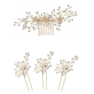 Women gold rhinestone pearl hair comb hair clip bridal wedding hair accessory Jc