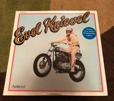 """Evel Knievel """"Evel Knievel Story"""" SEALED LP,Record,1974,Amherst,With Autograph!"""