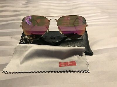 fa7d8f9d391 Ray-Ban RB 3025 112 1Q Matte Gold Aviator Sunglasses Polarized Pink Mirror  58