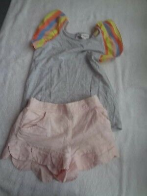 Country Road girls pink petal shorts(size 10) with Seed top (size 10)