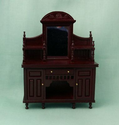1/12th scale Dolls House Miniature Mahogany Victorian Mirror Back Sideboard