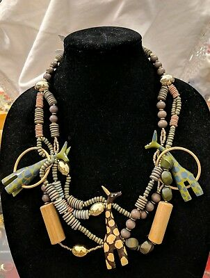 Vintage 80's Hand Carved Giraffes Runway Necklace & Earrings set. Wood 25""