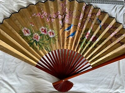 "VTG Fujian Chinese Large Wall Fan Gold Handpainted Birds Cherry Flowers 69""x 40"""