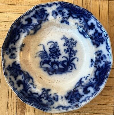 "Antique Flow Blue Shallow Bowl 10.5"" Carlton England Ironstone Ceramic Pottery"