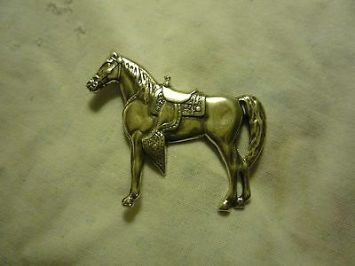 Horse Pin-Standing Horse with Saddle and back pin with clasp