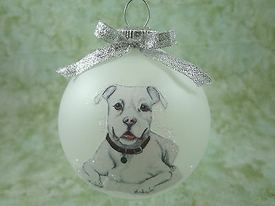 D039 Hand-made Christmas Ornament dog - Pit Bull Terrier pitbull - white laying