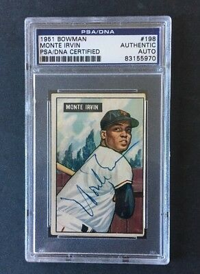 Monte Irvin Signed Autographed 1951 Bowman Rookie Card