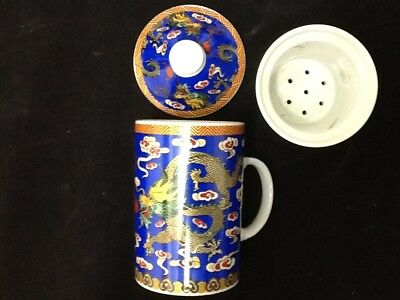 Chinese Porcelain Tea Cup Handled Infuser Strainer with Lid 10 oz  Dragon Blue a