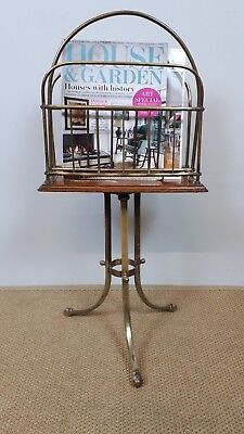 Victorian brass and oak paper magazine stand rack