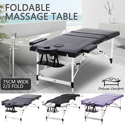 75cm 2/3 Fold Bed Portable Aluminium Massage Table Beauty Therapy Waxing Spa