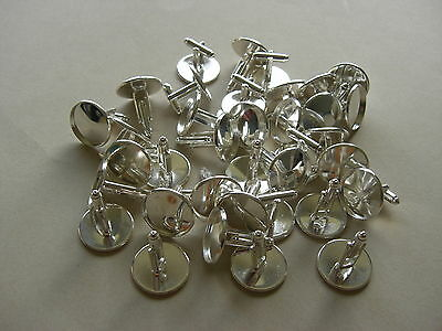 20 SLIGHTLY IMPERFECT SILVER PLATED ROUND CABOCHON SETTING CUFF LINKS Fit 18mm
