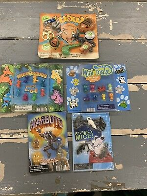 6 Vintage Vending Machine Toys on Cards - Brand New- Warbots, Steeky Mouse, more