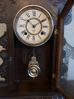Antique American Ansonia 8 Day Dark  Oak Gingerbread Shelf Clock (Scroll Shaped)