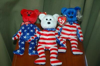 Lot of 3  LIBERTY the BEAR - Ty Beanie Baby - Red, White, Blue Face/Head  - MWMT
