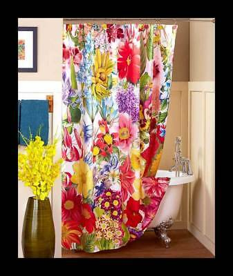 Gorgeous Cheerful And Colorful Floral Bathroom Shower Curtain Size 70