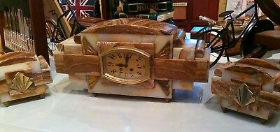 1920s French Solid Marble Art Deco Garniture Clock Set.