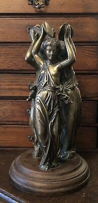 Antique Victorian Art Nouveau Brass Mythical Dancing 3 Graces Sculpture /statue