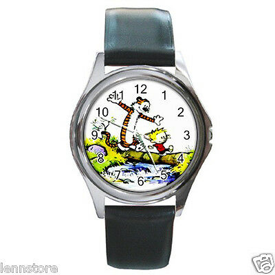 CALVIN and HOBBES Round Metal Watch Leatherband