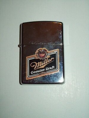 Vintage ZIPPO Miller Genuine Draft Cigarette Lighter Collectible Made in USA