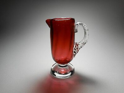 19th C. Antique Interior Rib Thorn Handle Cranberry Blown Glass Syrup