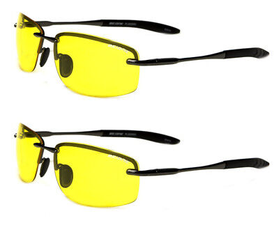 1e0d5861215a 2 Pack Yellow Polarized Lens BeOne Rimless Men's Night Driving Sunglasses  Lot