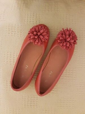 Dolly Rosette Pink Real Leather Ballet Pump Slip Ons in UK 2, EUR 34 Girls Shoes