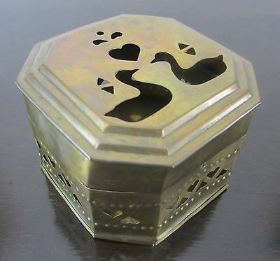Vintage Brass Trinket Box Made in India Octagon Shaped & Removable Lid 3.5""