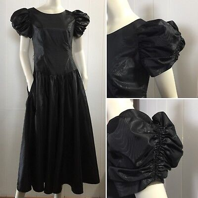 Vtg 80s Lanz Black Gothic Lolita Long Party Prom Dress Puffy Sleeve Pockets