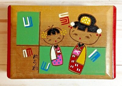 Vtg Small Kokeshi Doll Trinket Jewelry Box Wooden Japan Painted Japanese Japan