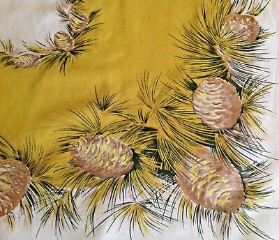 "Vintage California CA Hand Print Cotton Tablecloth Pine Cones Bough Gold 61""x52"""