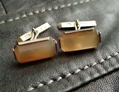 cufflinks Antique RUSSIAN Gold plated sterling SILVER 875  genuine stone.