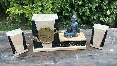 Beautiful Vintage Art Deco French Lorient Clock With Stands Signed P Sega *