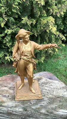 Beautiful Antique Vintage French Spelter Metal Figurine with Guilded Finish *