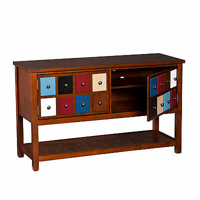 Cts40999 Brown Mahogany 2 Multicolor Doors Console / T.v Stand