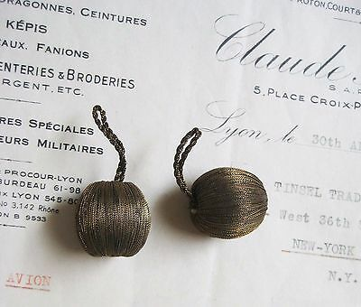 1 Pr Antique/Vintage French Dark Gold Metallic Drop Ball Tassel Trim Bobble 7/8""