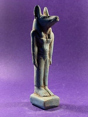 Lovely Circa 1370-770Bce Ancient Egyptian Anubis Faience Statuette
