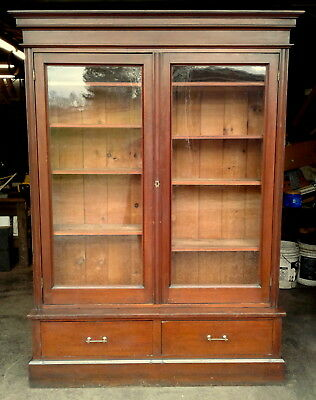 Antique Victorian Cherry Step Back Bookcase Showcase 2 Doors 2 Drawers C1860