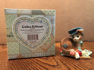 """Enesco Calico Kittens """"Thanks For Guiding Us Towards Our Goals"""" Cat/Map 720631"""