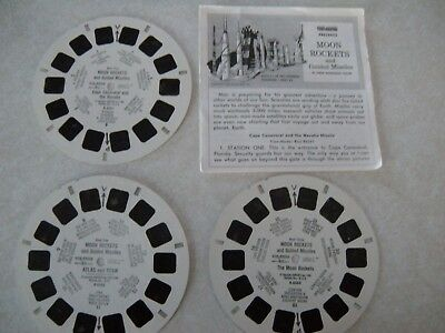 "View Master 3 Reel Set, ""MOON ROCKETS AND GUIDED MISSILES"" With Booklet"