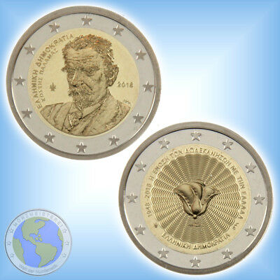 """2x 2 Euro GRIECHENLAND 2018 """" Kostis Palamas + Dodekanes """" PP / Proof aus KMS"""