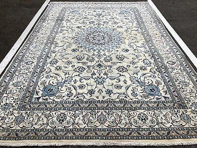 8x11 WOOL SILK ANTIQUE PERSIAN RUG IVORY NEUTRAL CREAM HAND KNOTTED rugs 8x12 ft