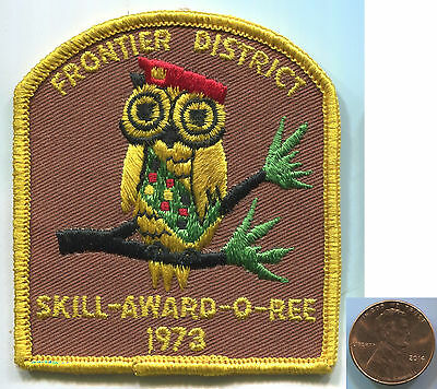 P121 BSA Boy Scouts, Frontier District, Skill-Award-O-Ree 1973, Owl, rare patch