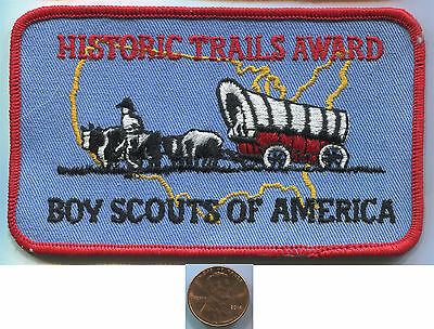 "P117h BSA Boy Scouts, Historic Trails Award, Pioneer Wagon, old patch 5""x3"""