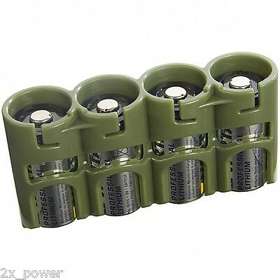 Storacell by Powerpax CR123 Military Green Slimline Battery Caddy- 4 Batteries