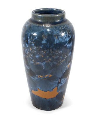1999 Ray West Sequoia Forest Studio Art Pottery Vase Crystalline Blue Crystals