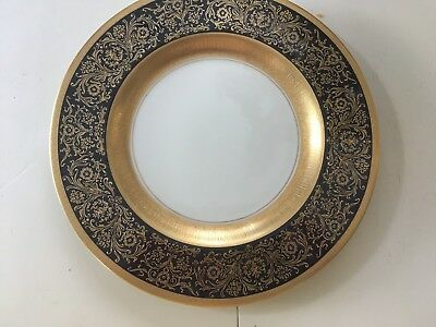 Pickard China Gorgeous Navy Gold Large Cabinet Dinner Plate 24K