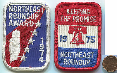 P120 BSA Boy Scouts, Northeast Roundup 1974 & 1975, Liberty Bell, 2 old patches