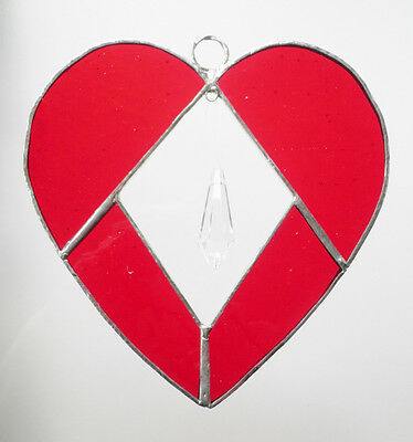 Leadlight Stained Glass Heart Red with Crystal Suncatcher handmade in Australia