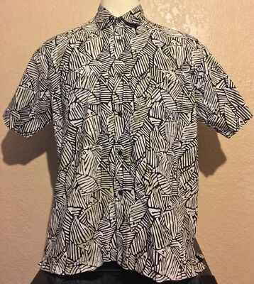 a239c5d0d Rum Reggae Men's Size Large 100% Cotton Black Fish Fossils Hawaiian Shirt L
